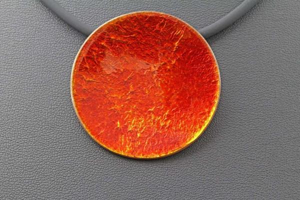 Emaille-Kettenanhänger Lucente Rot 40 mm Durchmesser
