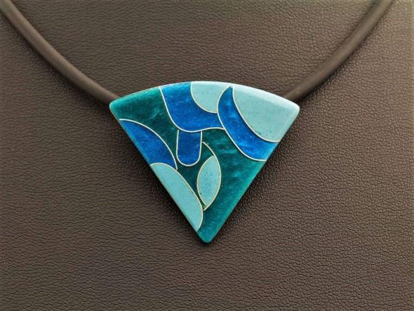 Emaille - Kettenanhänger Smaragd Dreieck