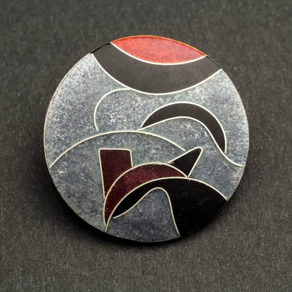 Emaille - Brosche Elegance rund, klein