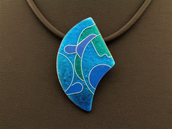 Emaille - Kettenanhänger Azzurro asymmetrisch