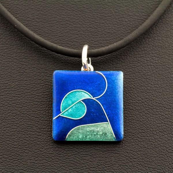 Emaille - Kettenanhänger Azzurro Quadrat, Klein