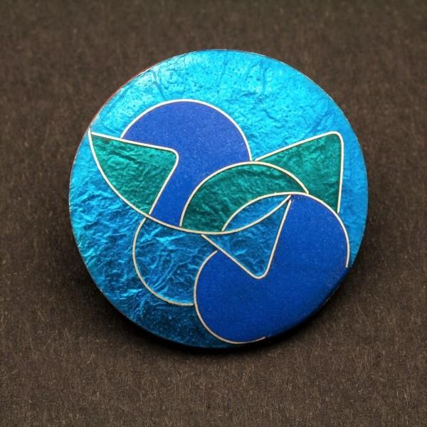 Emaille - Brosche Azzurro Rund, Klein