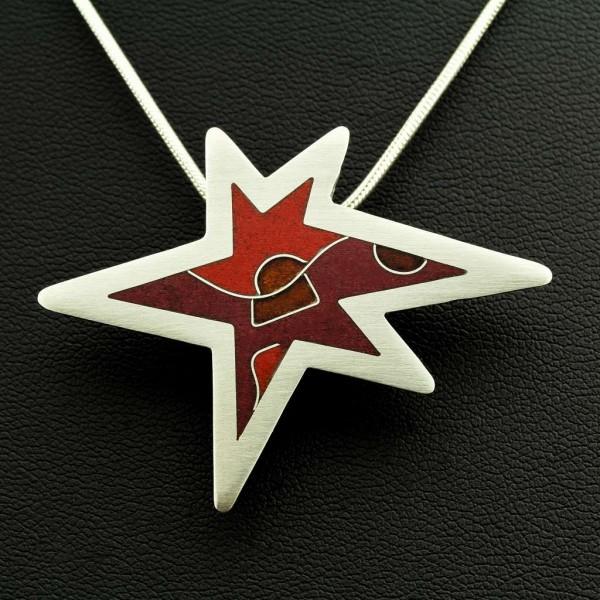 Emaille - Silberanhänger Little-Star Red