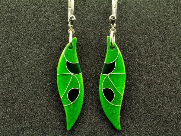 Emaille - Ohrhänger Green Wellig