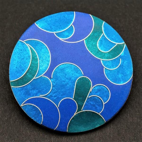 Emaille - Brosche Azzurro Rund Groß