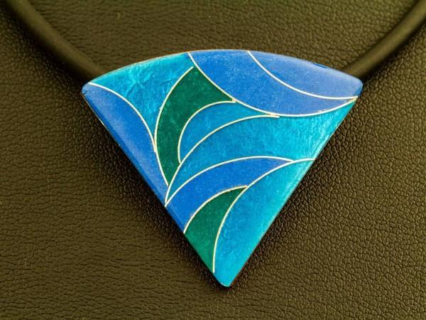 Emaille - Kettenanhänger Azzurro Dreieck