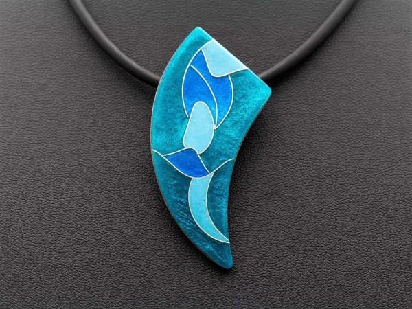 Emaille - Kettenanhänger Smaragd Asymmetrisch