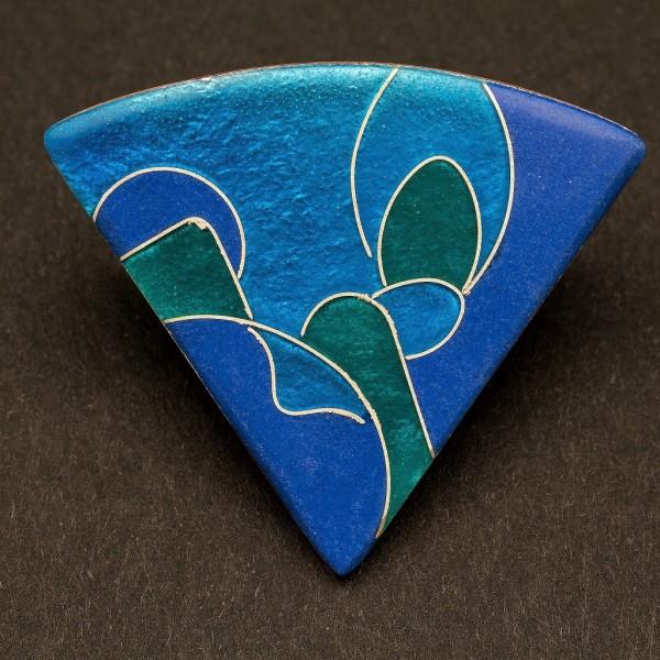 Emaille - Brosche Azzurro Dreieck
