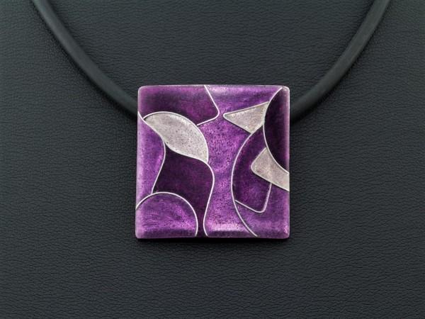 Emaille - Kettenanhänger Purple Quadrat
