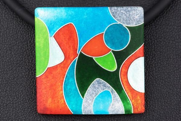 Emaille - Kettenanhänger Fantasy Quadrat