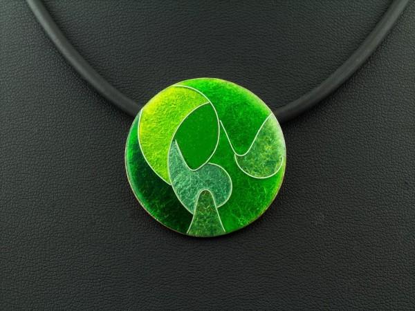 Emaille - Kettenanhänger Green, mittel
