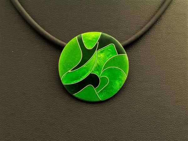 Emaille - Kettenanhänger Green rund, mittel