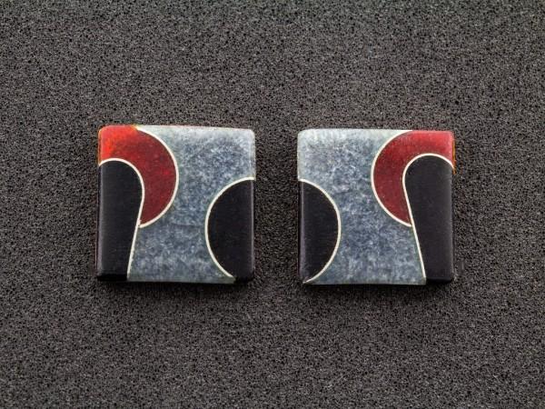 Emaille - Ohrstecker Elegance Quadrat