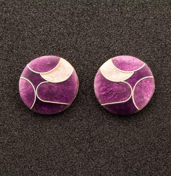 Emaille - Ohrstecker Purple Rund