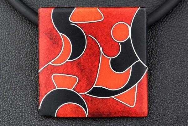 Rubin - Kettenanhänger Quadrat