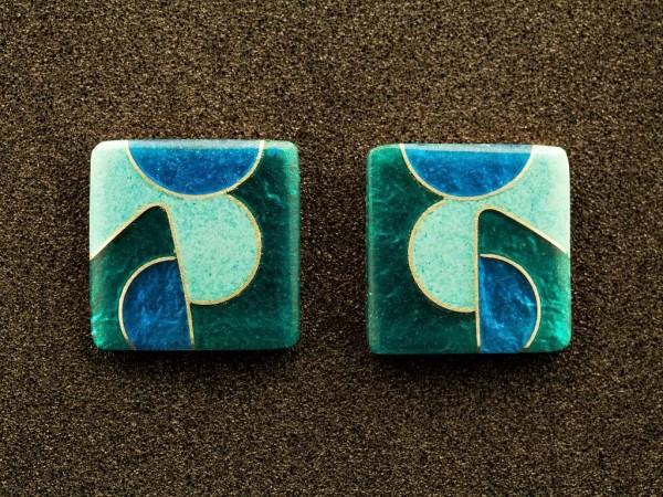 Emaille - Ohrstecker Smaragd Quadrat