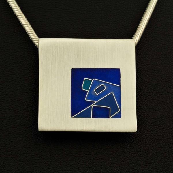Emaille - Silberanhänger Piazza Blue