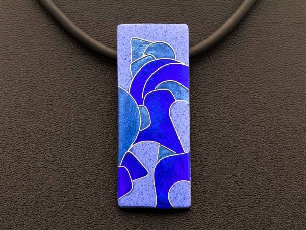 Emaille - Kettenanhänger Azzurro Rechteck