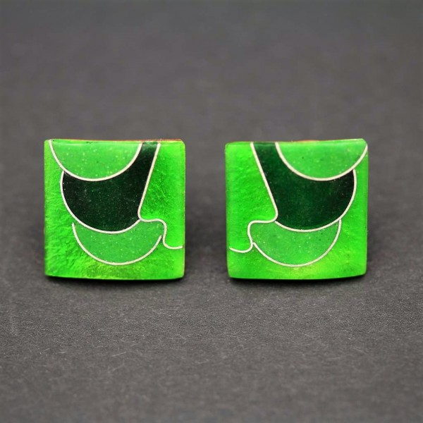 Emaille- Ohrstecker Green Quadrat