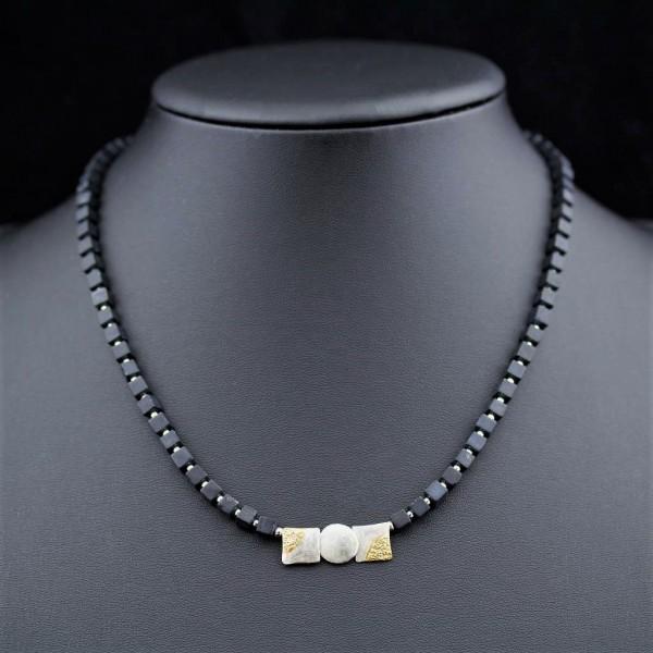 Halbedelstein-Kette Onyx Würfel mit Silberanhänger