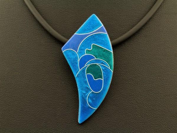 Emaille - Kettenanhänger Azzurro