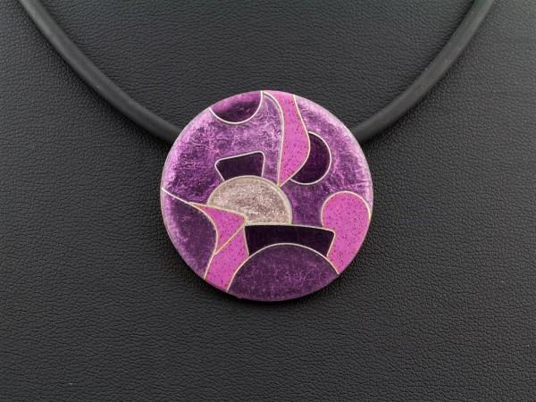 Emaille - Kettenanhänger Purple Rund mittel