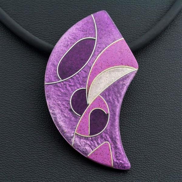 Emaille - Kettenanhänger Purple asymmetrisch