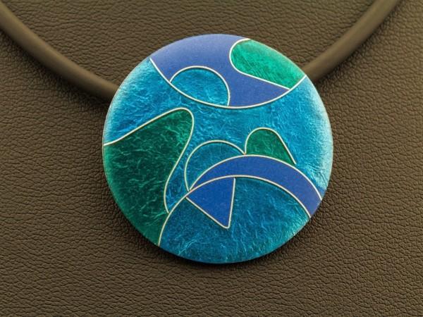 Emaille - Kettenanhänger Azzurro rund, mittel
