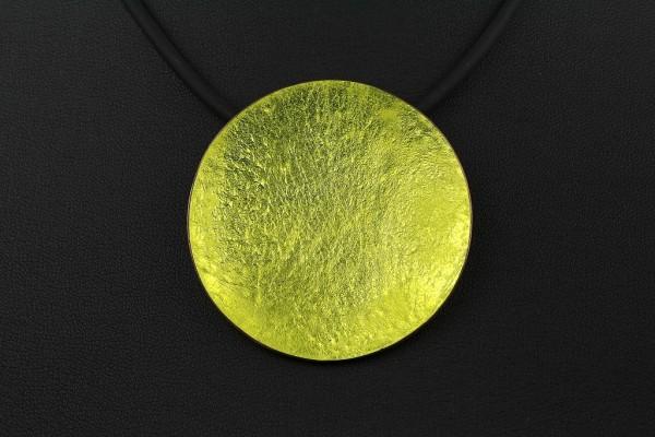 Emaille - Kettenanhänger Lucente Gelb 40 mm Durchmesser