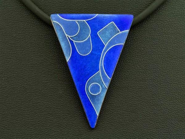Emaille - Kettenanhänger Azzurro Dreieck groß