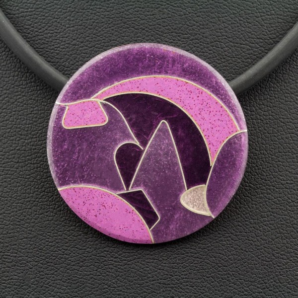 Emaille - Kettenanhänger Purple rund, mittel
