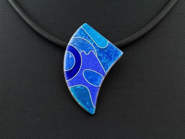 Emaille - Kettenanhänger Azzurro asymetrisch