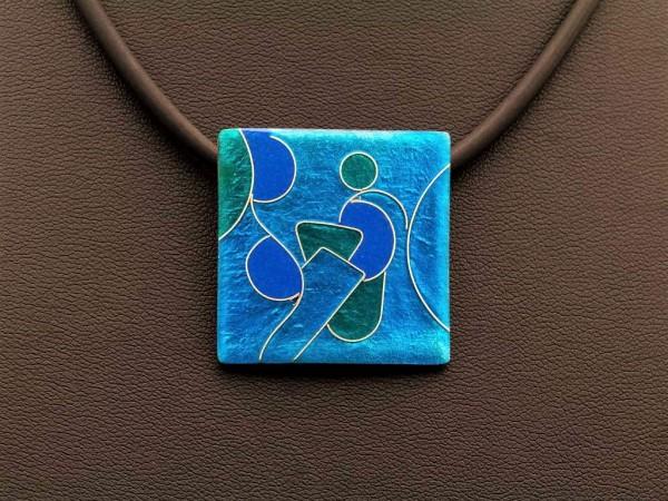 Emaille - Kettenanhänger Azzurro Quadrat