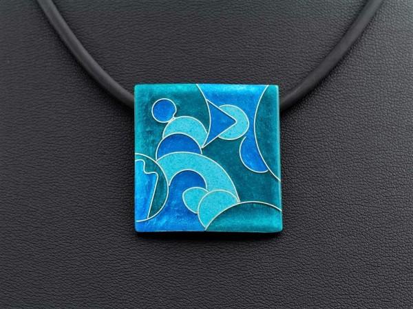 Emaille - Kettenanhänger Smaragd Quadrat