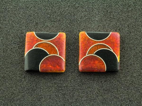 Emaille - Ohrstecker Rubin Quadrat