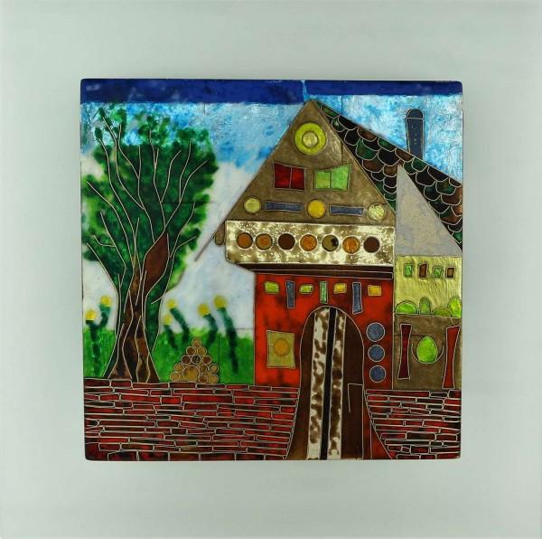 "Emaille - Wandbild "" Haus am Wald """