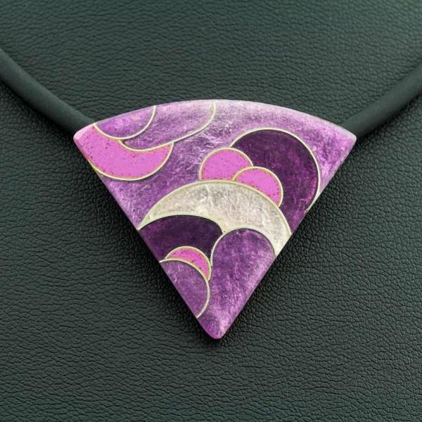 Emaille - Kettenanhänger Purple Dreieck