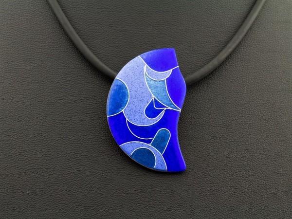 Emaille - Kettenanhänger Azzurro Wellig