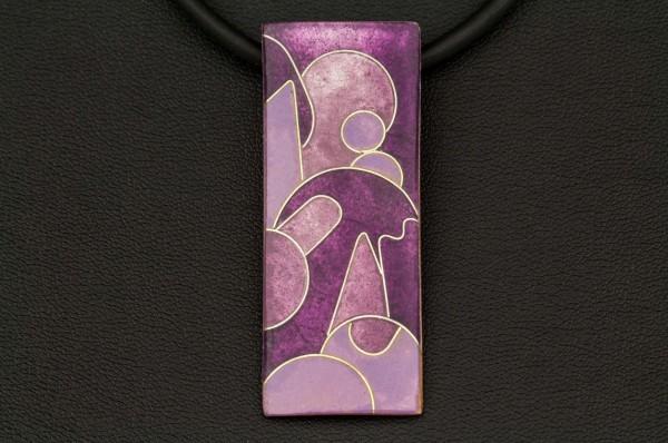Emailleanhänger, rechteckig, lila, 20 x 50 mm (BxH)
