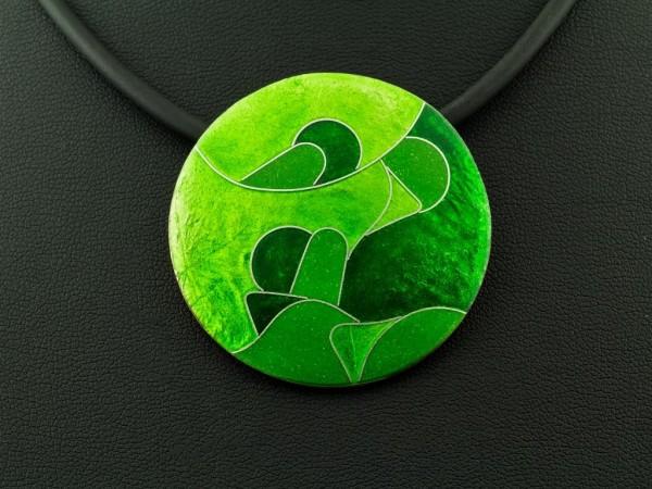 Emaille - Kettenanhänger Green rund, groß