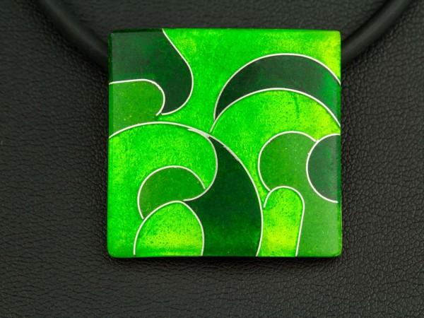Emaille - Kettenanhänger Green Quadrat