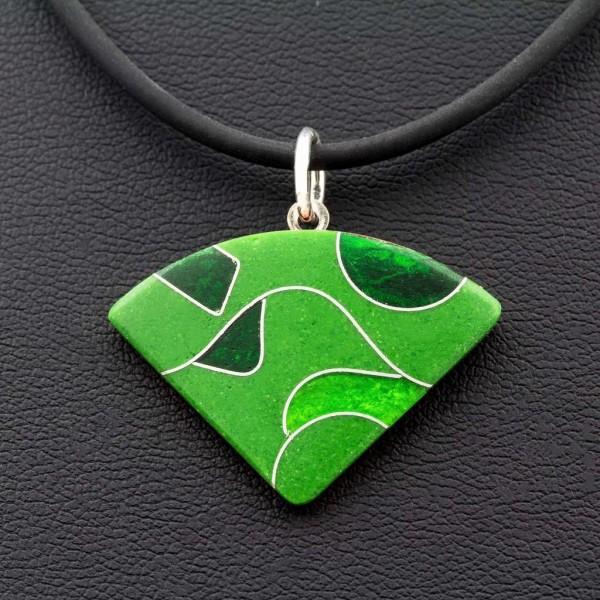Emaille - Kettenanhänger Green Dreieck, Rund, Quadrat