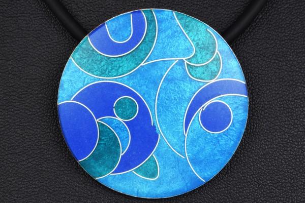 Azzurro - Kettenanhänger rund, groß