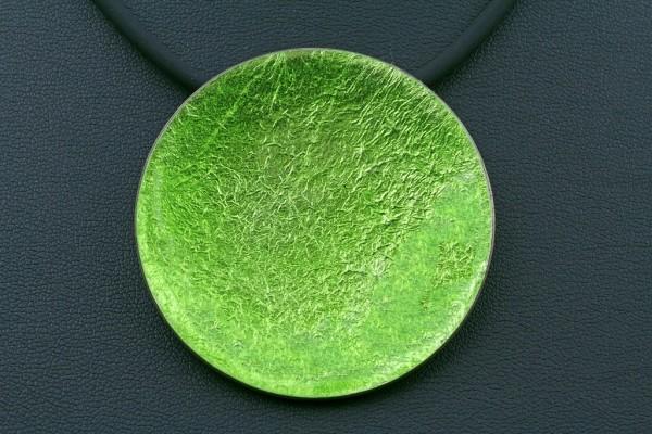 Emaille - Kettenanhänger Lucente Grün 48 mm Durchmesser