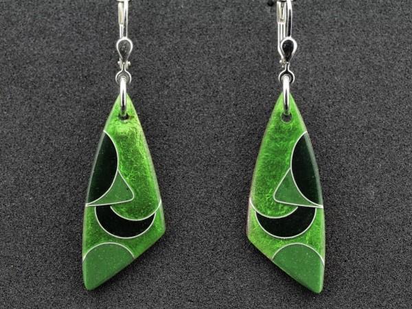Emaille - Ohrhänger Green Dreieck