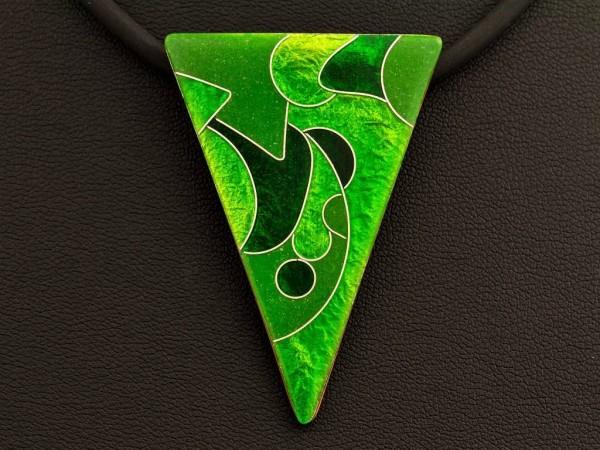 Emaille - Kettenanhänger Green Dreieck groß