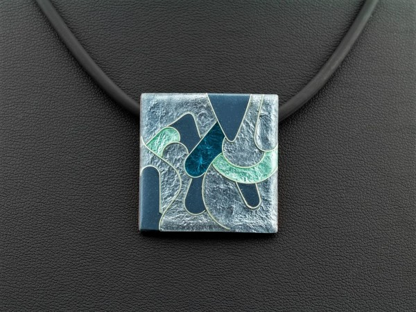 Emaille - Kettenanhänger Elegance Quadrat