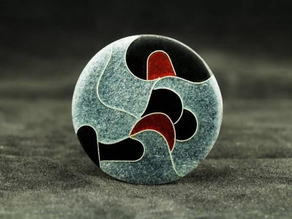Emaille - Brosche Elegance rund, mittel