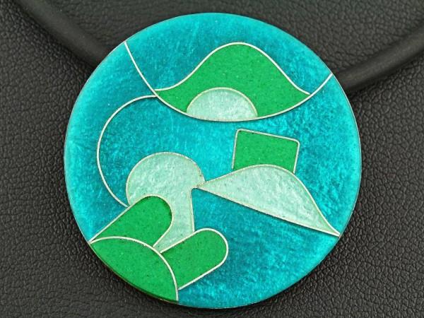 Emaille - Kettenanhänger Smaragd rund, mittel